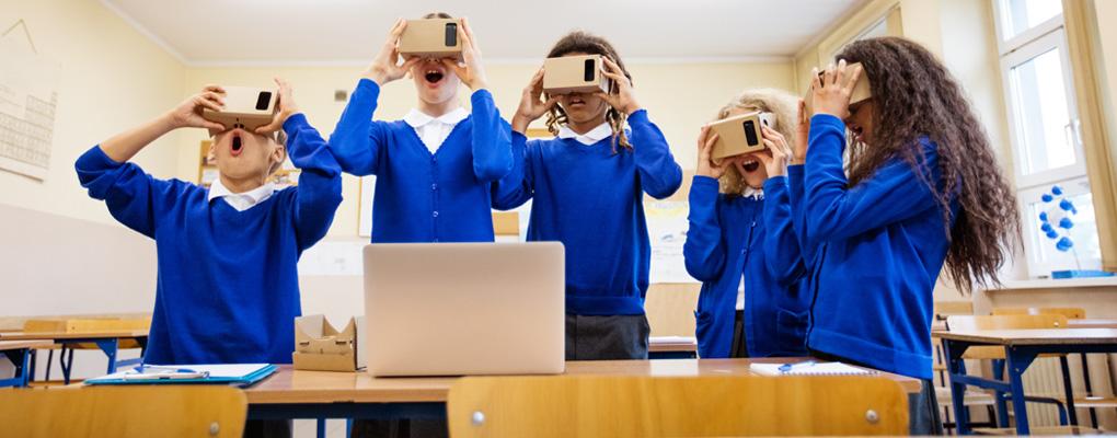 children using Google Cardboard headsets