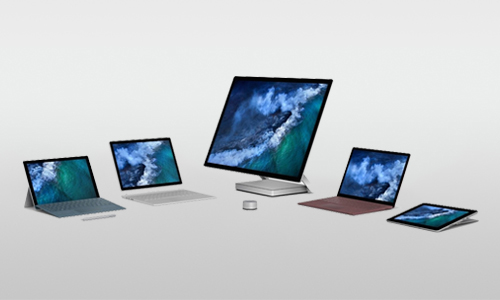 Range of microsoft surface devices