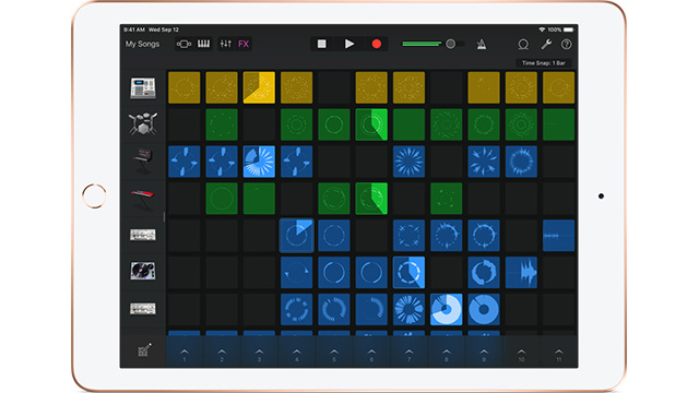 Ipad showing GarageBand app and a musical tune