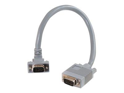 C2G 1m Premium Shielded HD15 SXGA M/M Monitor Cable with 90° Down Angled Male Connector