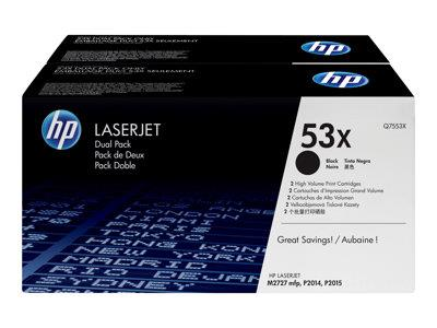 HP 53X 2-pack High Yield Black Original LaserJet Toner Cartridges