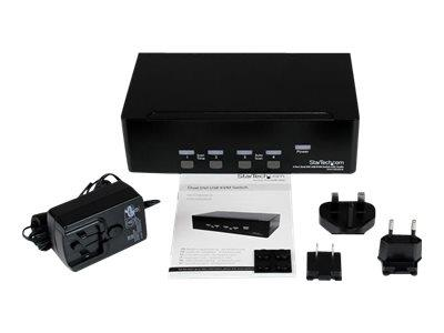 StarTech.com 4 Port Dual DVI USB KVM Switch with Audio & USB 2.0 Hub