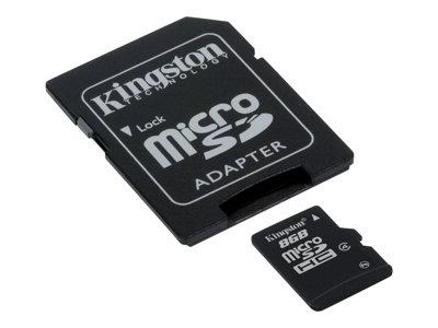 Kingston - Flash memory card ( microSDHC to SD adapter included ) - 8 GB - Class 4 - microSDHC