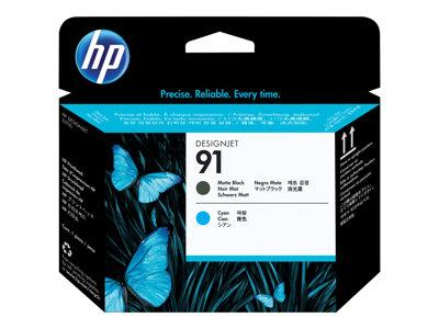HP 91 Matte Black and Cyan Printhead