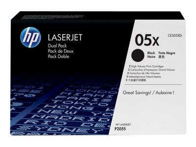 HP 05X 2-pack High Yield Black Original LaserJet Toner Cartridges