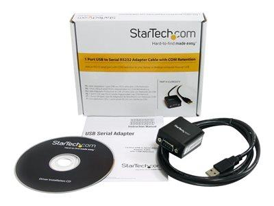 StarTech.com 1 Port FTDI USB to Serial RS232 Adapter Cable with COM Retention