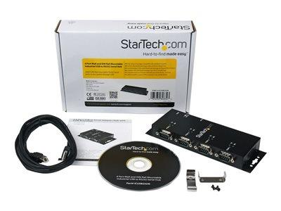 StarTech.com 4 Port USB to DB9 RS232 Serial Adapter Hub – Industrial DIN Rail and Wall Mountable