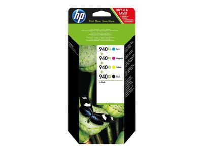HP 940XL 4-pack High Yield Black/Cyan/Magenta/Yellow Original Ink Cartridges