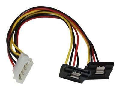 StarTech.com 12in LP4 to 2x Right Angle Latching SATA Power Y Cable Splitter - 4 Pin Molex to SATA