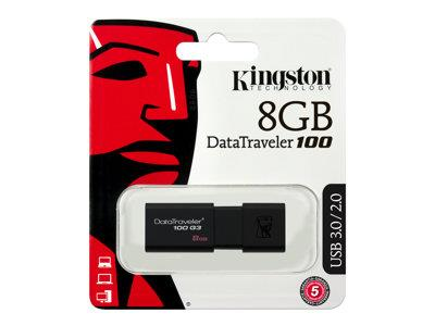 Kingston DataTraveler 100 G3 - USB flash drive - 8 GB - USB 3.0 - black
