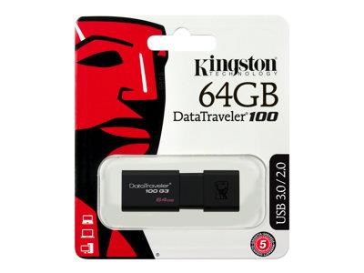 Kingston DataTraveler 100 G3 - USB flash drive - 64 GB - USB 3.0 - black