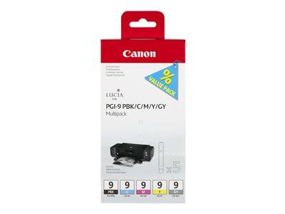 Canon PGI-9 Multi-Pack - Ink tank - 1 x grey, yellow, cyan, magenta, photo black