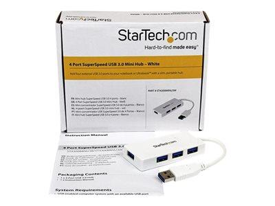 StarTech.com Portable 4 Port SuperSpeed Mini USB 3.0 Hub - White