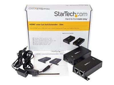 StarTech.com HDMI Over Cat5 / Cat6 Extender with IR - 100 ft (30m) Power Free