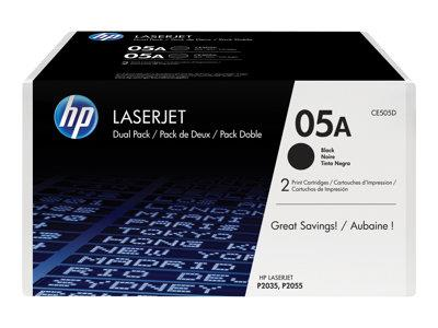 HP 05A Dual Pack Black Toner Cartridge for LaserJet P2035/P2055