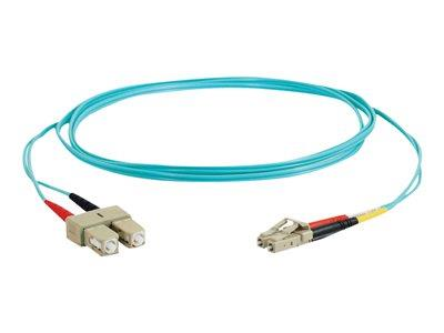 C2G 30m LC-SC 10Gb 50/125 OM3 Duplex Multimode PVC Fibre Optic Cable (LSZH) - Aqua