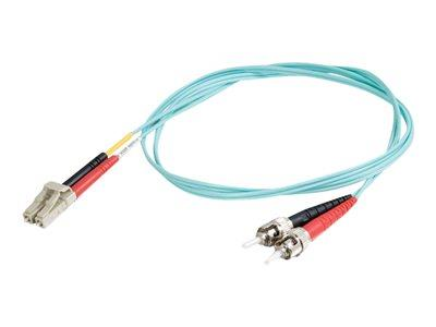 C2G 2m LC-ST 10Gb 50/125 OM3 Duplex Multimode PVC Fibre Optic Cable (LSZH) - Aqua