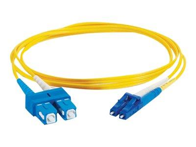 C2G 15m LC-SC 9/125 OS1 Duplex Singlemode PVC Fibre Optic Cable (LSZH) - Yellow