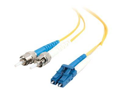 C2G 1m LC-ST 9/125 OS1 Duplex Singlemode PVC Fibre Optic Cable (LSZH) - Yellow