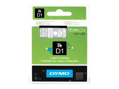 DYMO D1 Tape 12mm White on Transparent