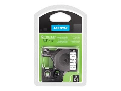 DYMO D1 Tape Permanent 12mm x 5.5m Black on White