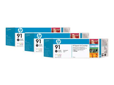 HP 91 3-pack 775-ml Photo Black Ink Cartridges