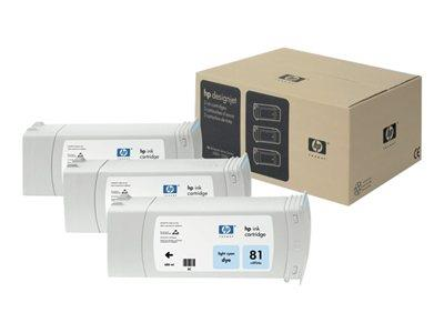HP 81 3-pack 680-ml Light Cyan Dye Cartridges