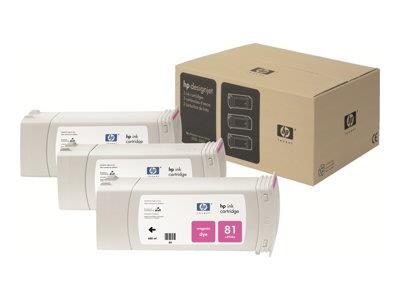 HP 81 3-pack 680-ml Magenta Dye Cartridges
