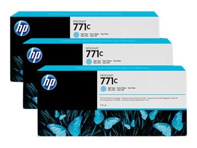 HP 771C 3-pack 775-ml Light Cyan Designjet Ink Cartridges
