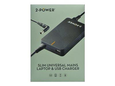 2-Power Laptop Universal Charger - with a 2.1A USB