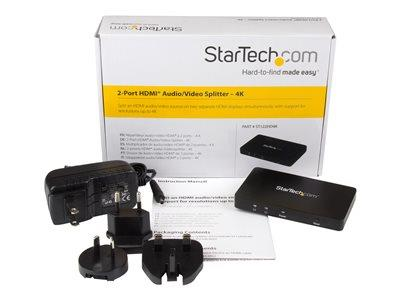 StarTech.com 4K HDMI 2-Port Video Splitter – 1x2 HDMI Splitter  w/ Solid Aluminum Housing – 4K 30Hz