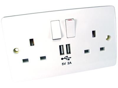 Cables Direct Best Value Wall Socket with built in 2 x USB Charging Ports