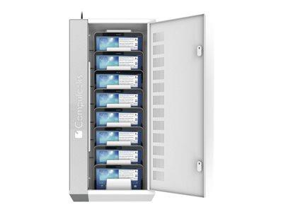Compulocks WalliPad Rack for 8 Tablets - white and silver stripe