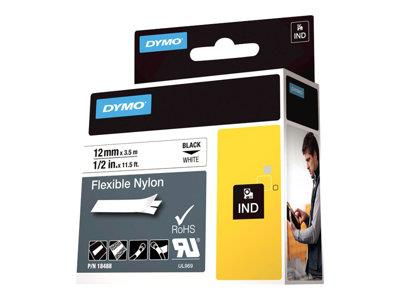 DYMO Flexible Nylon Tape - Black on White - 1.2cm x 3.5m 1 roll