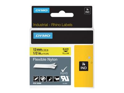 DYMO Flexible Nylon Tape - Black on Yellow - 1.2cm x 3.5m 1 roll