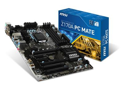 MSI Z170A PC MATE Intel Z170 LGA1151 DDR4 PCIe M.2 USB 3.1 ATX
