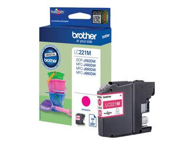 Brother LC221M (260 Page Yield) Ink Cartridge (Magenta)