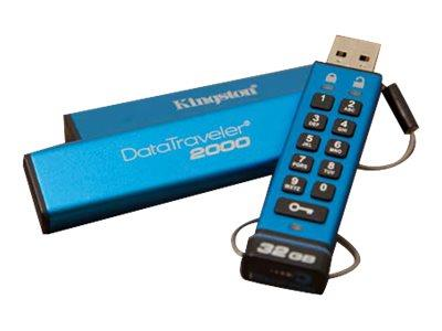Kingston 32GB DataTraveler 2000 AES 256-bit Encryption USB 3.1 Drive