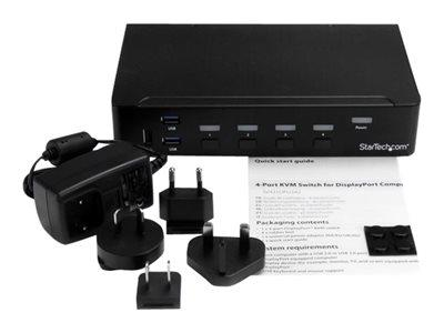 StarTech.com 4-Port DisplayPort KVM Switch With Built-in USB 3.0 Hub - Rack-Mountable