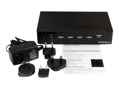 StarTech.com 4 Port HDMI KVM Switch With Built-in USB 3.0 Hub - Rack-Mountable