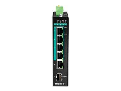 TRENDnet 5-port Hardened Industrial Gigabit PoE+ DIN-Rail Switch