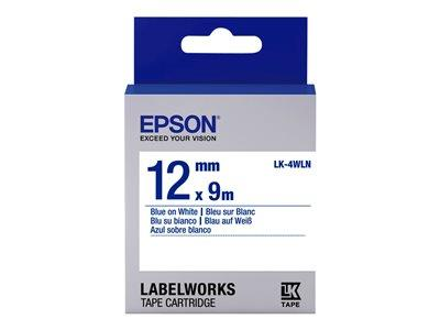 Epson LabelWorks LK-4WLN Label Tape Blue On White Roll (1.2 cm x