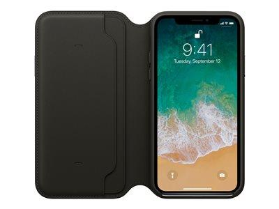 Apple iPhone X Leather Folio - Black