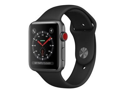 Apple Watch Series 3 GPS + Cellular, 42mm Space Grey Aluminium Case with Black Sport Band