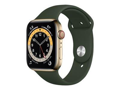 Apple Watch Series 6 GPS + Cellular, 44mm Gold Stainless Steel Case with Cyprus Green Sport Band