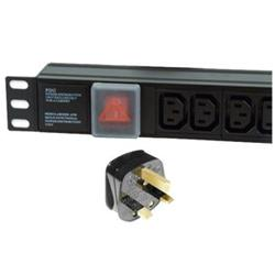 Dynamode 6 Way Horizontal IEC13 10A Switched PDU > UK Plug